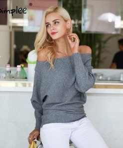 Simplee Off shoulder sexy elastic knitting pullover female Bat long sleeve knitted sweater women Fashion jumper pull knit shirt 1