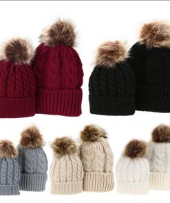 Mom and Baby Matching Knitted Hats Warm Fleece Crochet Beanie Hats Winter Mink PomPom Kids Children Mommy Headwear Hat Caps 1