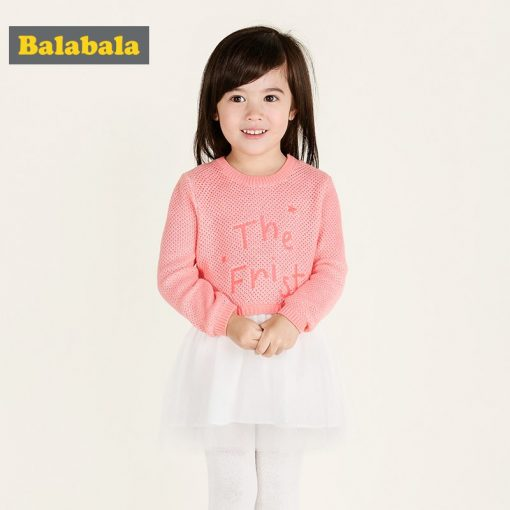balabala Princess Costume dresses 2018 Brand cotton clothes Girls Tunic Dress Kids Clothing long sleeve Children Dresses  1