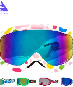 VECTOR Brand Ski Goggles Kids Double Lens UV400 Anti-fog Ski Snow Child Skiing Glasses  Winter Girls Boys Eyewear 1