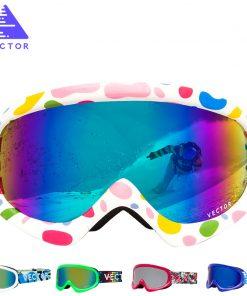 VECTOR Brand Ski Goggles Kids Double Lens UV400 Anti-fog Ski Snow Child Skiing Glasses  Winter Girls Boys Eyewear 1