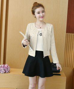 New Fashion Women Coat 2018 Autumn Solid Pink Apricot Long Sleeve Beading Zipper Cardigan Small Suit Coat Women Jacket 0979 30 1