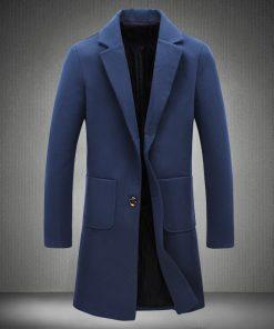 2018 New Autumn Winter Trench Coat Men Turn-Down Collar Slim Fit Overcoat for Man Long Coat Windbreaker 5XL 1