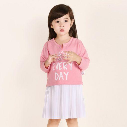 balabala Girls Dress Children 2018 Autumn Doll Collar Princess Dresses For Girls Fashion Cotton Dress & long sleeve tshirt 1