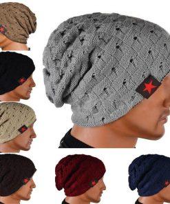 VISNXGI 2018 Fall Men Winter Hat Knitted Five Star Striped Cap Hollow Double Wear Women Hat Unisex Beanie Keep Warm Woolen Hat 1