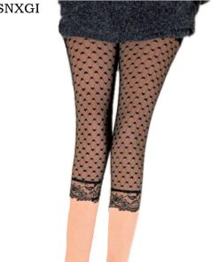 VISNXGI 2018 Womens Lace Capris Elastic High Waist Sexy Skinny Leggings Sexy Pants Solid Black Mesh Capris With Lace Stretch