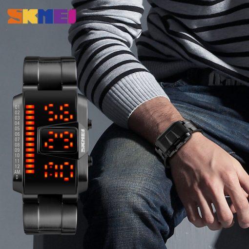 SKMEI Fashion Creative LED Sports Watches Men Top Luxury Brand 5ATM Waterproof Watch Digital Wristwatches Relogio Masculino 2