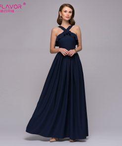S,FLAVOR Women sexy halter long dress 2018 New arrival solid color cascading ruffle waist vestidos de festa Women summer dress