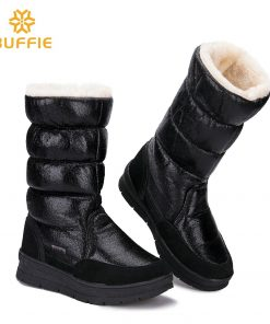 Black High female shoes Winter Warm Boots Woman Snow Boots top quality 2018 new styles of lady shoe Plus big Size fast shipping