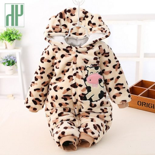 3 6 9 12 months baby clothes cute winter warm longsleeve coral fleece infant Leopard cow animals clothes baby boy girl rompers  2