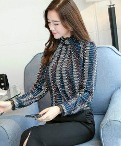 new Fashion 2018 chiffon women blouse shirt print blue striped women's clothing long sleeves office lady tops blusas  C924 30 1