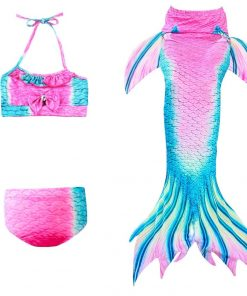 New! 3Pcs/set Girls Bathing Suit Swimming Mermaid Tail Little Children Ariel Mermaid Tail Costume Cosplay Kids Swimwear Swimsuit 1