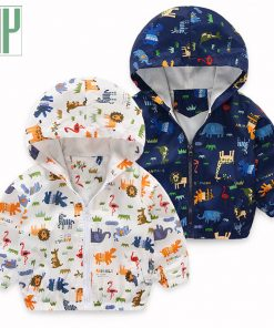 HH Baby boy jacket windbreaker for girls Car printing Kids Clothing Long Sleeve casual hooded Jackets Children Outerwear coats