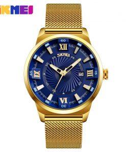 SKMEI Fashion Quartz Watches Men Luxury Business Gold Watch Stainless Steel Waterproof Wristwatches Male Clock Relogio Masculino 1