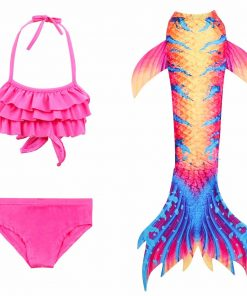 3-12Year Girls Mermaid Tail For Swimming Dress Cosplay Swimsuit Kids Swimmable Mermaid Tail Costume Swimsuit Can Add Monofin Fin 1