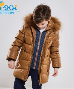 BUY 1 COAT GET 1 FREE SCARF -30 degrees SP-SHOW Winter 90% White down coats With Fur Hood Warm Jacket For 4-9 Age Russian Coats