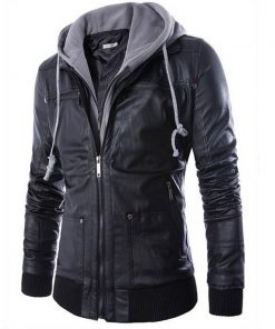 Leather Jacket Men Turn-down Collar With Hooded Jaqueta De Couro Masculina PU Mens Faux Fur Coats Veste Cuir Homme Motorcycle  1