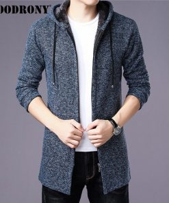 COODRONY Sweater Men Clothes 2018 Winter Thick Warm Long Cardigan Men With Hood Sweater Coat With Cotton Liner Zipper Coats H004