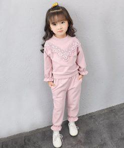 Humor Bear Children Autumn Baby Girls Clothes Children'S Spring And Autumn New Products Girls Lace Set Children'S  Two Pieces 1