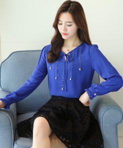 new 2018 fashion chiffon women shirt blouse long sleeves red women's clothing plus size V-neck beading women top blusas 80B 30 1