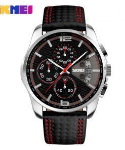 SKMEI Outdoor Sports Quartz Watches Men Top Luxury Brand Chronograph Leather Waterproof Wristwatches Relogio Masculino 9106