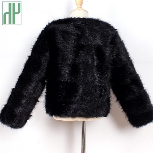 HH Girls fur coat Winter Elegant Baby Girl Faux Fur Jackets And Coats Thick Warm Parka Kids Outerwear Clothes jacket children 5