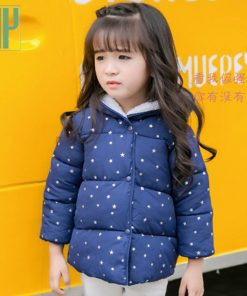 HH Autumn baby winter jacket for girls children jacket Cotton-Padded Kids Warm Hooded Outerwear parka coat girl 1 2 3 4 5 Year  1