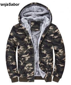 NaranjaSabor 2018 Autumn Winter Men's Jacket Hooded Coat Camouflage Hoodies Army Green Mens Clothing Fleece Male Sweatshirts 4XL