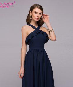 S,FLAVOR Women sexy halter long dress 2018 New arrival solid color cascading ruffle waist vestidos de festa Women summer dress 1