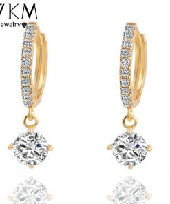 Brincos Crystal Stud Earrings Fashion Gold Sliver Color Zircon Pendant Pendiente Earrings For Women Geometric Long Earring 2018 1