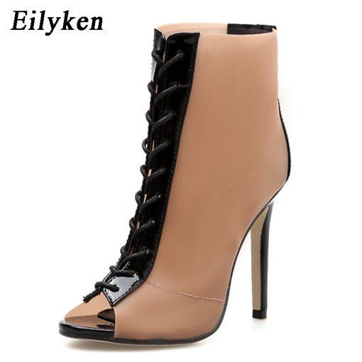 Eilyken 2018 New Women Orange PVC Ankle Boots Peep Toe Transparent Women Boots Rubber Sole Autumn Cross-tied Booties Shoes 1