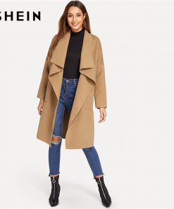 SHEIN Camel Office Lady Elegant Knee Length Draped Pocket Front Waterfall Coat 2018 Autumn Workwear Women Coats Outerwear
