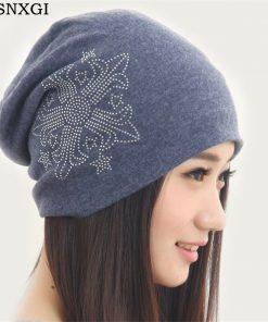VISNXGI Female Turban Hat Beanies Women Winter Cap Diamond Flower Hat Girls Bonnet Slouchy Baggy Beanie Hip Hop Hats Diamond Cap
