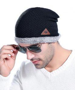 VISNXGI 2018 Fashion Bonnet Gorros Caps For Men Women Thick Winter Beanie Men Knitted Hat Warm Skullies & Beanies With Velvet 1