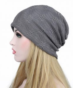 VISNXGI Europe And America Style Double Layers Women's Autumn Hats Cotton Lace Skullies Hollow Turban Chemo Beanies Woman Cap 1