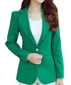 2018 fashion office lady coat long sleeve slim formal jacket women coats solid black green women outwear feminine jacket D214 30 1