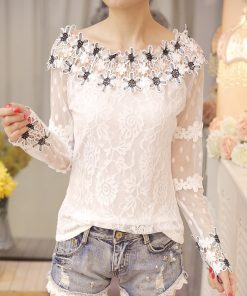 Sexy Slash Neck Hollow Out Lace Blouse Shirt Fashion Woman Blouses 2018 Long Sleeve White Lace Tops Blusa Feminina Shirt 1004 40 1