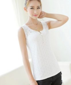 Blusas Femininas 2017 Summer Fashion Women Blouse Crochet Elegant Lace Blouses Sleeveless Black White Casual Shirts Tops Plus 1