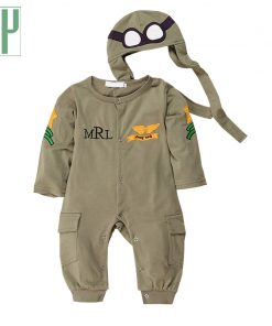 Fashionals Baby Rompers one-piece pilot baby clothes new born boy jumpsuit funny baby girl romper hat two piece outfits costume