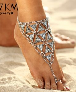 17KM Boho Style Triangle Anklet Bracelet 2017 New Punk Vintage Barefoot Sandal Chain Anklets Foot Jewelry For Woman Party Gift  1