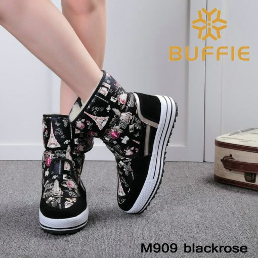 2018 New brand woman boots warm winter shoes flower waterproof wearing female fashion hot  thick fur high quality  buckle style 2