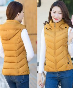1PC New Brand women vest Winter jacket Hooded Thicken Warm Casual Cotton Padded Waistcoat female Sleeveless waistcoat Z5450