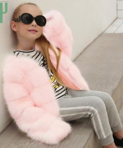 HH Girls fur coat Winter Elegant Baby Girl Faux Fur Jackets And Coats Thick Warm Parka Kids Outerwear Clothes jacket children 1