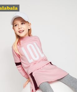 Balabala girls clothes set fashion Children Girls Clothes Toddler Clothing preppy style tracksuit costume child hoodies + pants