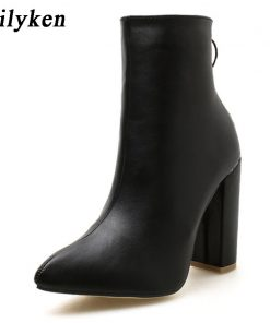 Eilyken 2018 New Metal Decoration Zipper Women Boot Pointed toe Ankle Boots Sexy Thin Heels Fashion Women Boots shoes Size 35-40 1