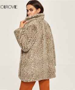 COLROVIE Leopard Print Notched Neck Long Faux Fur Coat Women 2018 Autumn Street Office Warm Winter Jacket Female Lady Outwear 1