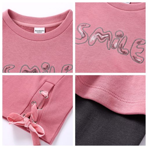 Balabala child clothing suit set toddler girl clothing girls costume o-neck long sleeve Pullover sets with Belt clothing sets  5