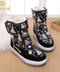 2018 New brand woman boots warm winter shoes flower waterproof wearing female fashion hot  thick fur high quality  buckle style 1