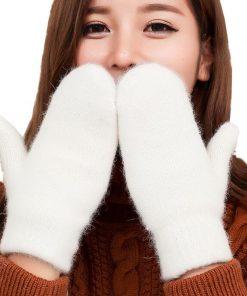 VISNXGI Lovely Female Winter Knit Wool Thicker Cashmere Velvet Warm Black Gloves Ladies Cute Fingerless Women Mittens Guantes 1