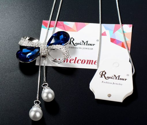 RAVIMOUR Blue Crystal Bowknot Long Necklaces & Pendants Imitation Pearl Jewelry Maxi Chokers Silver Color Chain Collar New 2017 5